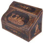 A late 19th century Sorento ware rosewood writing box,