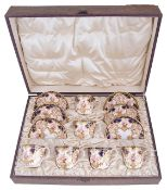 A cased set of Royal Crown Derby porcelain tea cups with saucers, circa 1907,