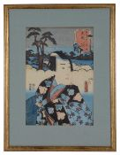 Toyokuni III, Utagawa Kunisada (1786-1864) A pair of Japanese woodblock prints of Kabuki actors, 'Ac
