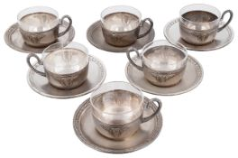 A set of six WMF silver plated teacups with saucers, circa 1910
