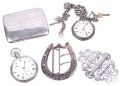 A selection of silver pocket watches, cigarette case, nurses buckle and mother of pearl buckle,