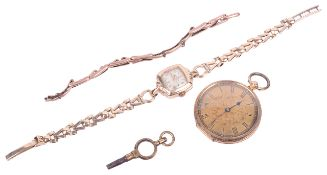 A 18k open faced pocket watch and a 9ct Record ladies wristwatch