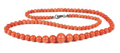 A single row graduated coral bead necklace