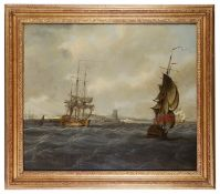 Attributed to Thomas Mitchell (fl. 1735-1790) 'British ships off a French port'