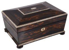 A Victorian coromandel sewing box and contents