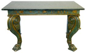 A variegated green marble top console table, 19th century and later