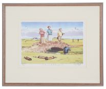 Four Bob Farndon golfing and cricket limited edition coloured prints, 20th century