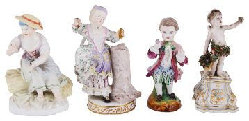 Four Continental porcelain figurines, late 19th/early 20th century