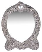 A Victorian heart shaped silver easel mirror, hallmarked London 1900