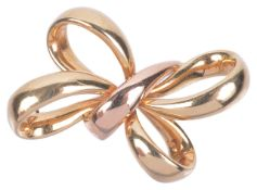 A Continental 18ct gold two colour 'tied' ribbon bow brooch