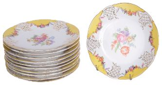 A set of eleven Schumann Dresden porcelain plates, early 20th century