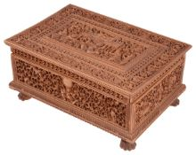 A 19th century Anglo-Indian carved sandalwood casket