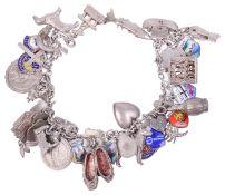 A silver charm bracelet,