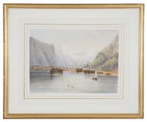 A hand coloured print of 'The Icebergs at Romsdal' Norway,
