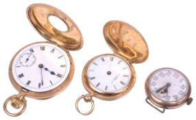 A selection of 9ct and 18ct pocket and wrist watches
