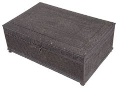 A mid 19th century Anglo Indian carved ebony document box