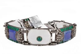 An impressive Art Deco Theodor Fahrner silver panel bracelet,
