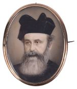 A fine portrait miniature on ivory of a bearded gentleman, possibly Russian orthodox