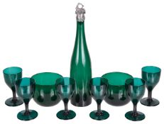 A suite of six Bristol green glass wine glasses, with two finger bowls and bottle,