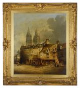 """Alfred Montague (British 1835 - 1870) """"Caen Normandy'"""