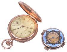 A 14k gold Waltham ladies pocket watch and an Edwardian enamel and jewelled wristwatch