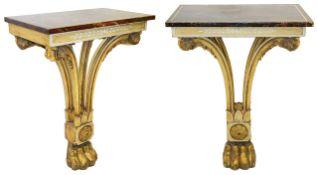 A pair of late Regency pier tables,