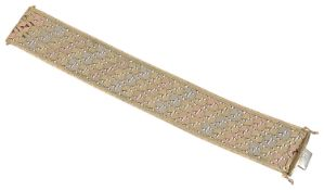 A 9ct three coloured gold wide flexible bracelet