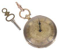 An 18k gold open faced gentleman's pocket watch,