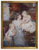 A portrait miniature of a lady with children on ivory