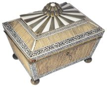 A Victorian porcupine quill and ivory sewing box