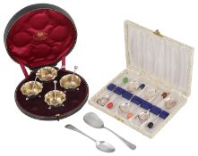A cased suite of four Victorian silver salts, hallmarked 1900