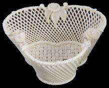 A Belleek trefoil woven basket