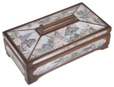 A Chinese 20th century mother-of-pearl and wooden box and cover