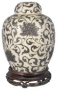 A late 19th century Chinese crackle ware ginger jar