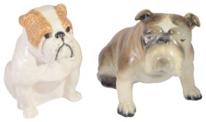 A Royal Doulton Pug Dog and a Goldscheider Pug Dog, both realistically modelled, factory marks to ba