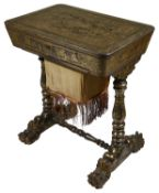 An attractive Chinese export black and gold lacquered work table, mid 19th century