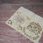 An early 19th century sampler drawstring bag and a large Victorian jaquard woven paisley shawl