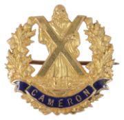 A 15ct gold WW1 Cameron Highlanders Regiment enamel sweetheart bar brooch, maker V & S