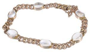 A 9ct gold curbed link moonstone bracelet