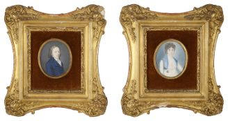 Two portrait miniatures on ivory in gilt frames, 19th century