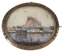 An unusual Victorian scenic miniature on ivory brooch