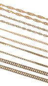 Four thin 9ct gold chains and one 18ct gold chain