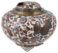 A late 19th century cloisonne incense burner and cover