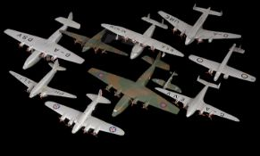 A collection of vintage Dinky Toy Military Aircraft