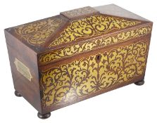 A Regency rosewood and brass inlaid sarcophagus shaped tea caddy,