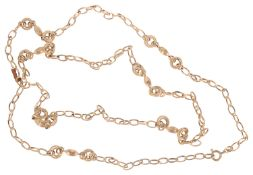 A Continental 18ct gold fancy link necklace