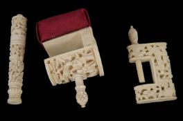 Three Cantonese late 19th/early 20th century ivory sewing accessories
