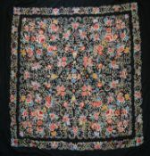 An early 20th century Chinese Canton silk embroidered piano cover