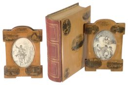 Two Mauchline ware photo frames and a Mauchline ware bound photograph album, each showing scenes of