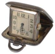 A George V silver cased Sapho miniature travelling clock, hallmarked Birmingham 1932